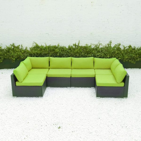 Diseno 6 7pcs Outdoor Patio Furniture Sectional With Cushions Green