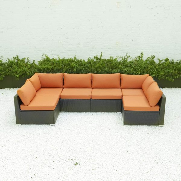 Diseno 6 7pcs Outdoor Patio Furniture Sectional With Cushions Orange