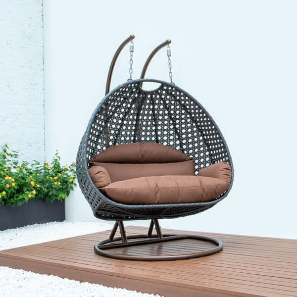 double patio swing chair brown